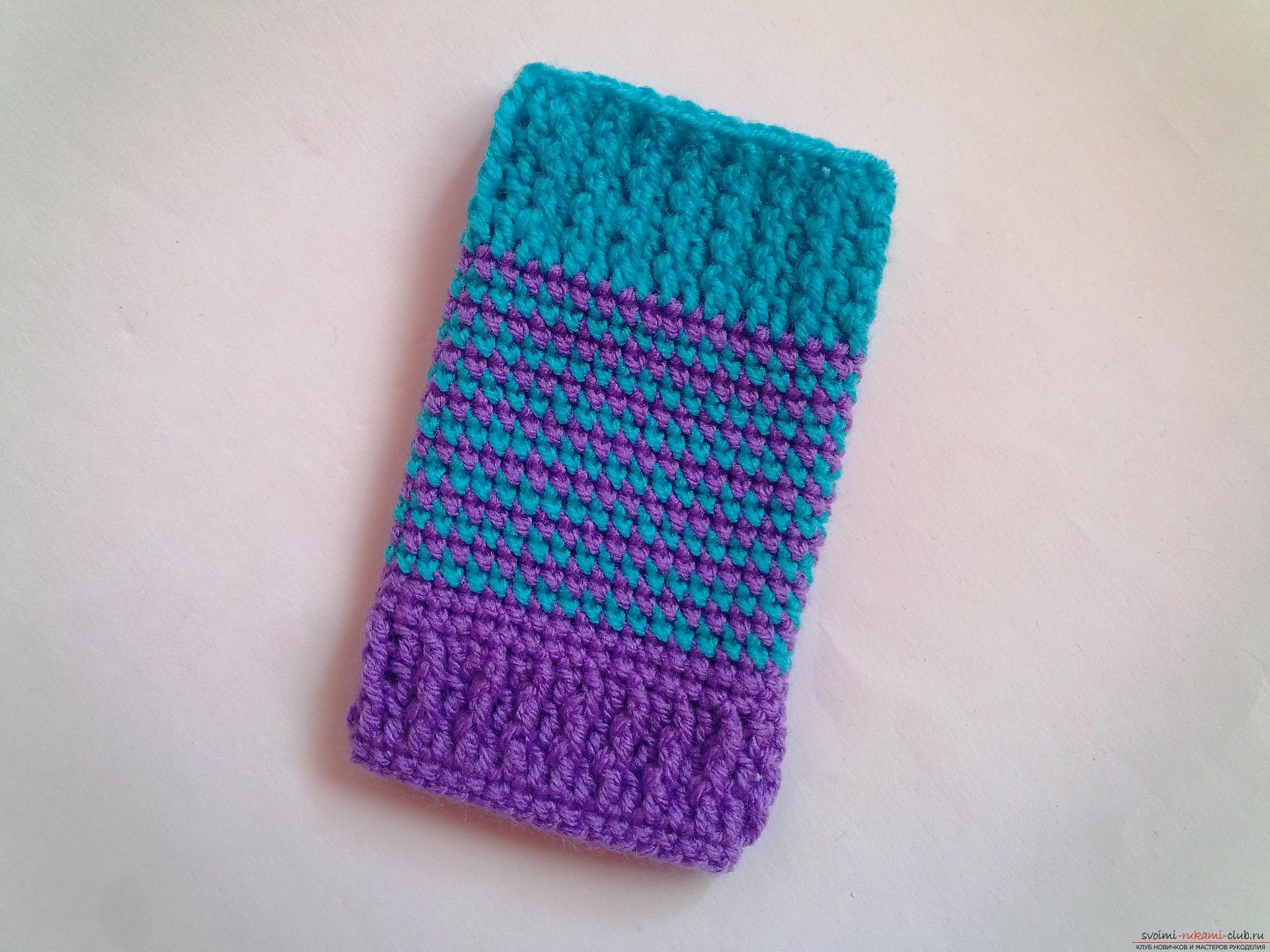 Вязание на спицах чехол для мобильного