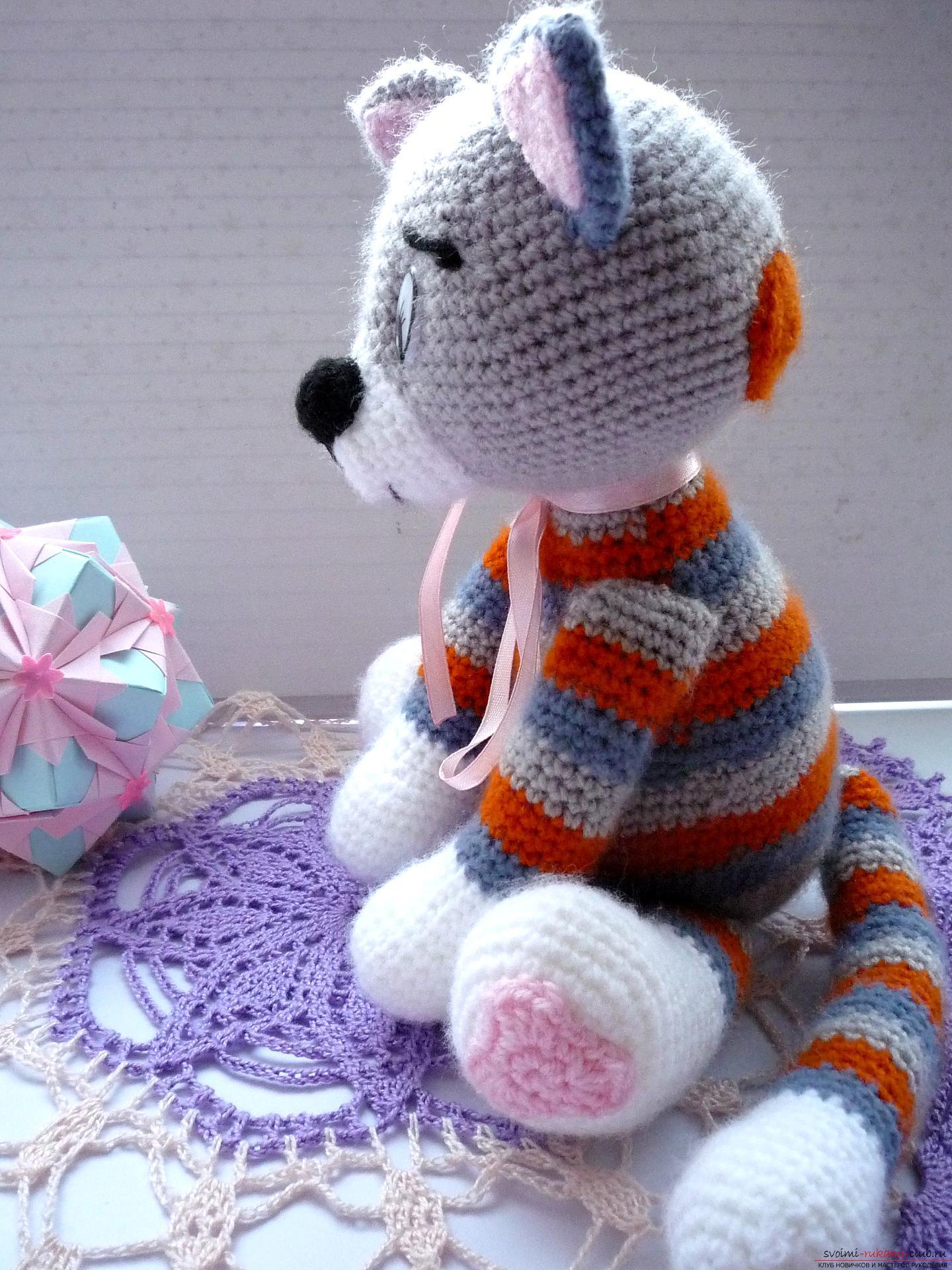 Вязание крючком игрушку кошку