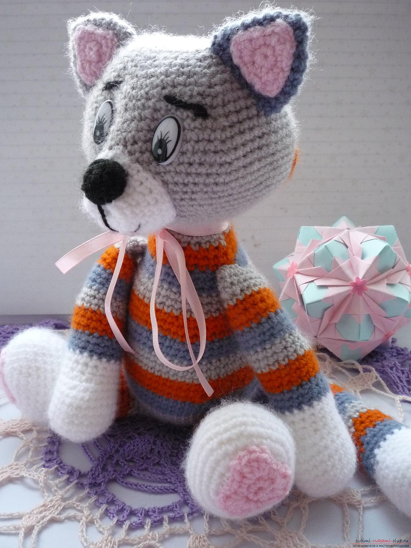 Вязание крючком игрушек котиков