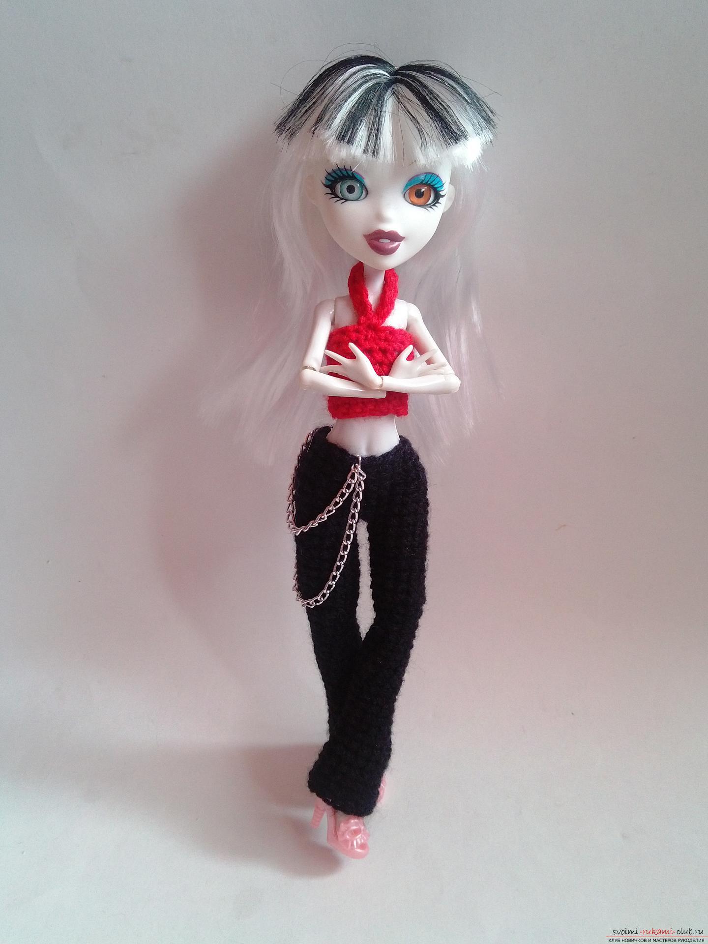 Вязание крючком по нашему мастер-классу поможет связать одежду для кукол Монстер Хай – брюки и топ.. Фото №12