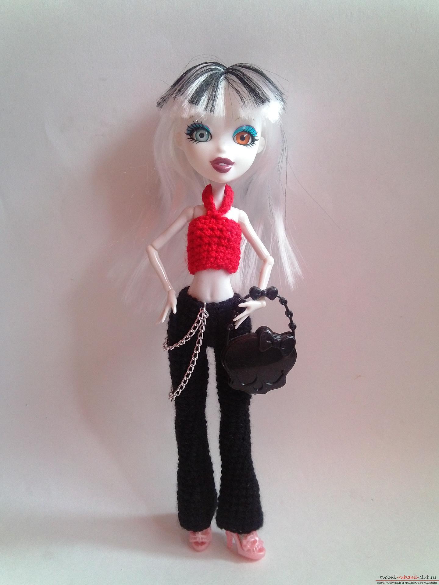 Вязание крючком по нашему мастер-классу поможет связать одежду для кукол Монстер Хай – брюки и топ.. Фото №11