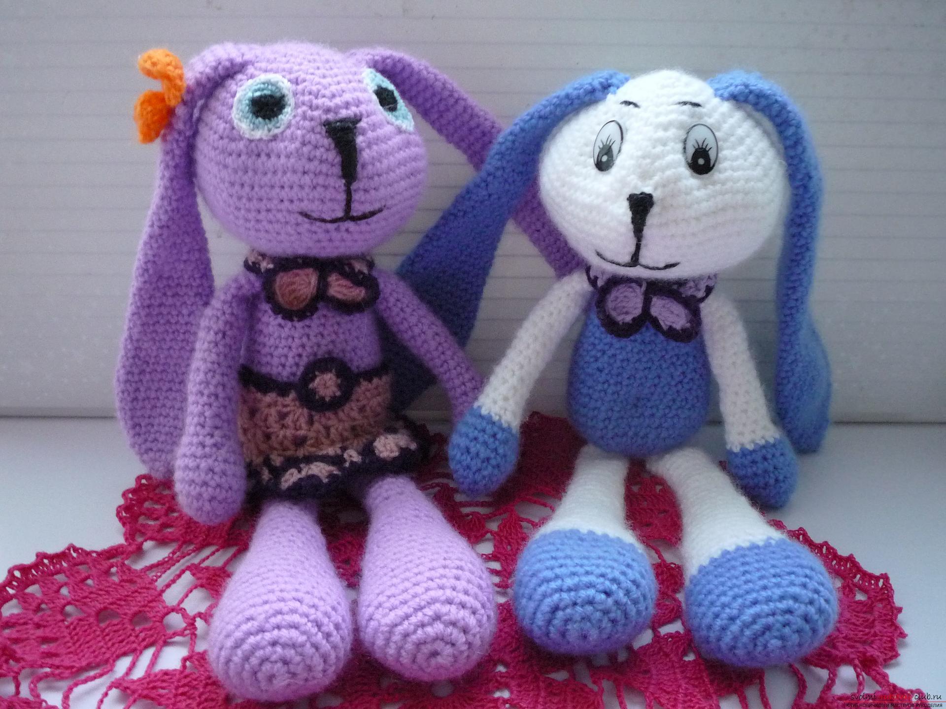 мастер класс научит создавать вязаные игрушки своими руками заяц