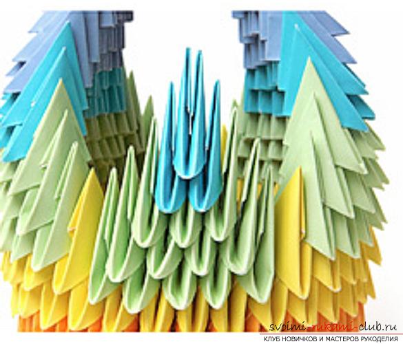 модульное оригами лебедя. Фото №36