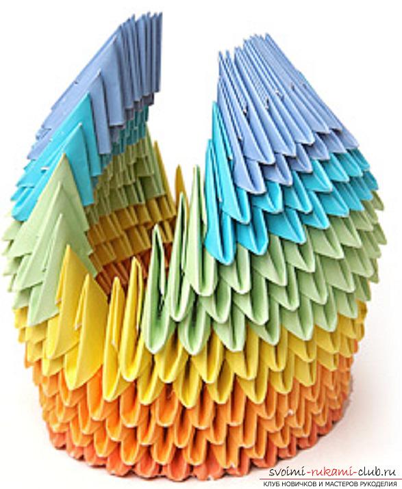 модульное оригами лебедя. Фото №34