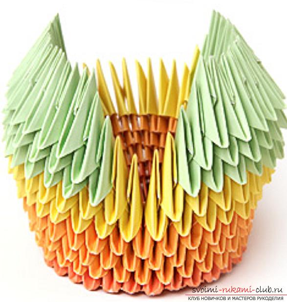 модульное оригами лебедя. Фото №32
