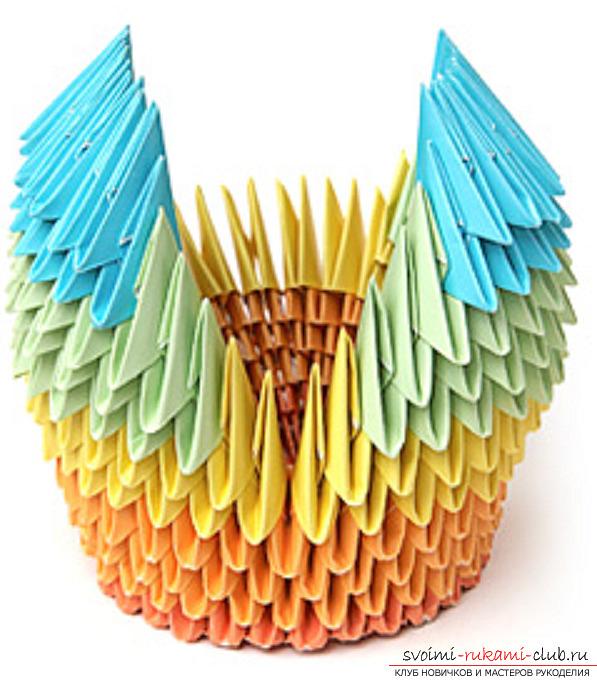 модульное оригами лебедя. Фото №33