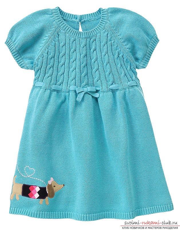 Вязаные платья спицами для девочек
