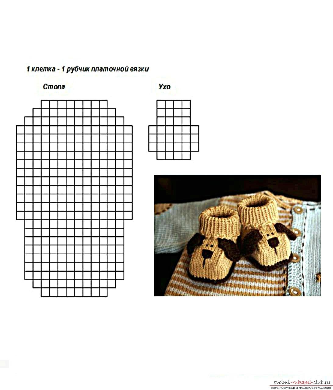 вязаные спицами пинетки-собачки для ребенка. Фото №3