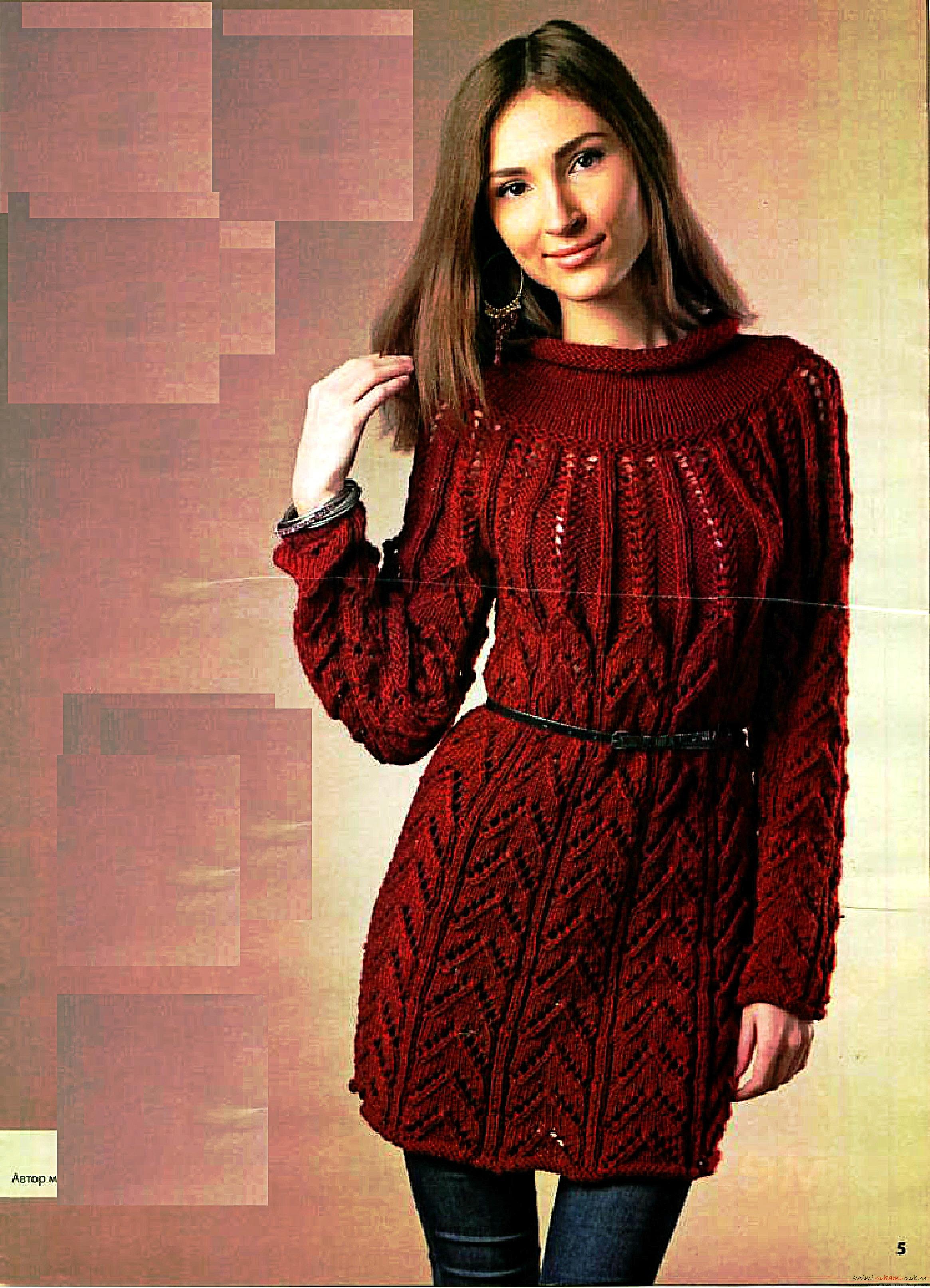 вязаный спицами свитер в ирландском стиле с интересным узором. Фото №6