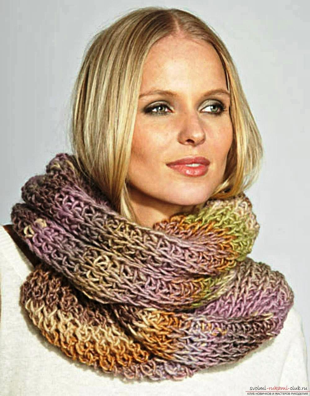 вяжем шарф-трубу спицами схема