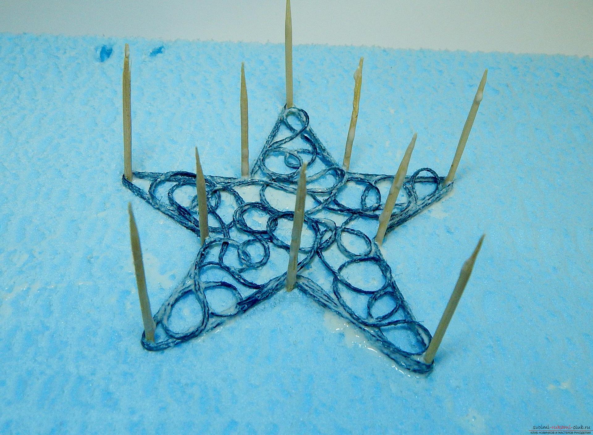 Как сделать снежинку из ниток мулине