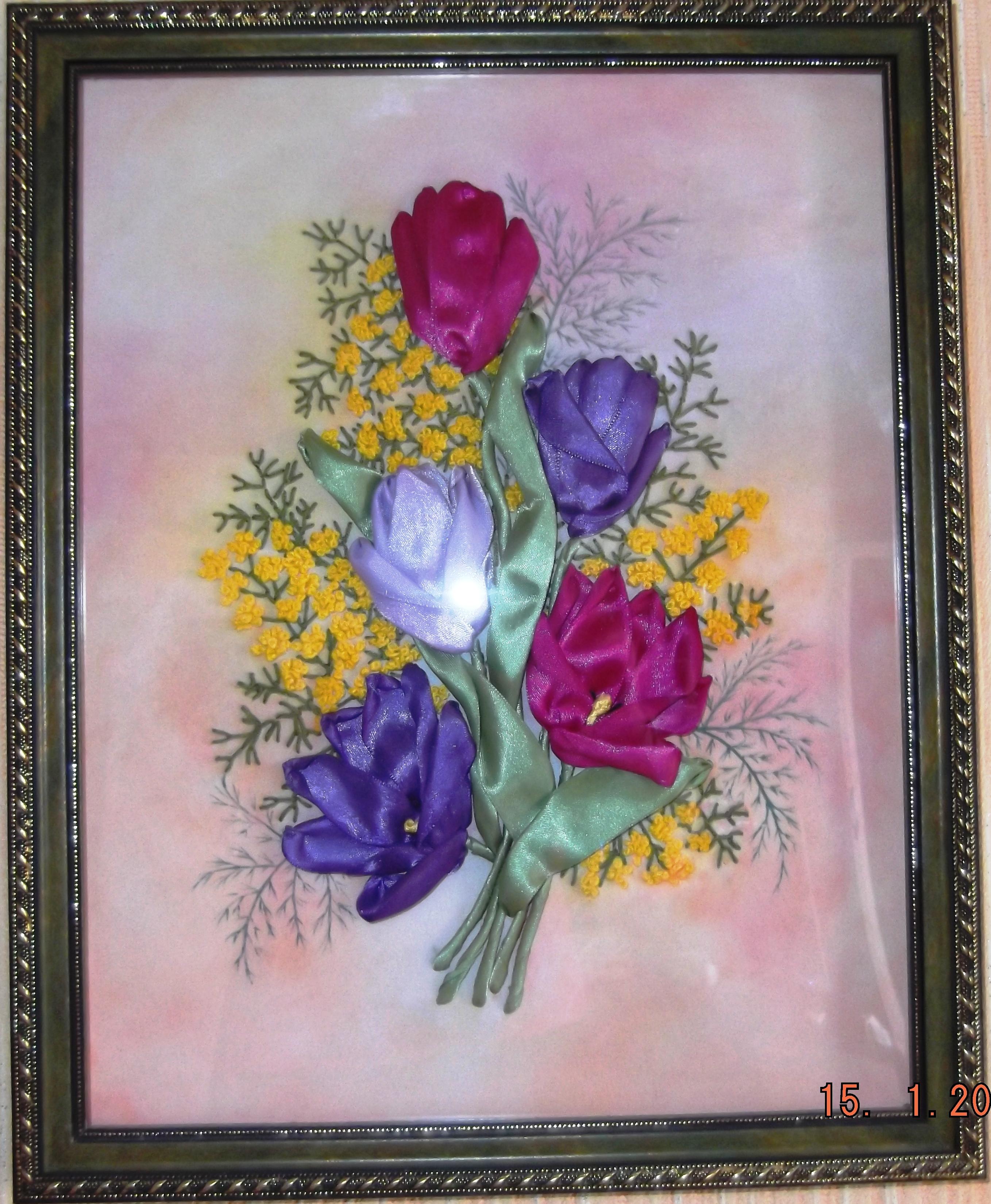 Картины вышивке лентами фото