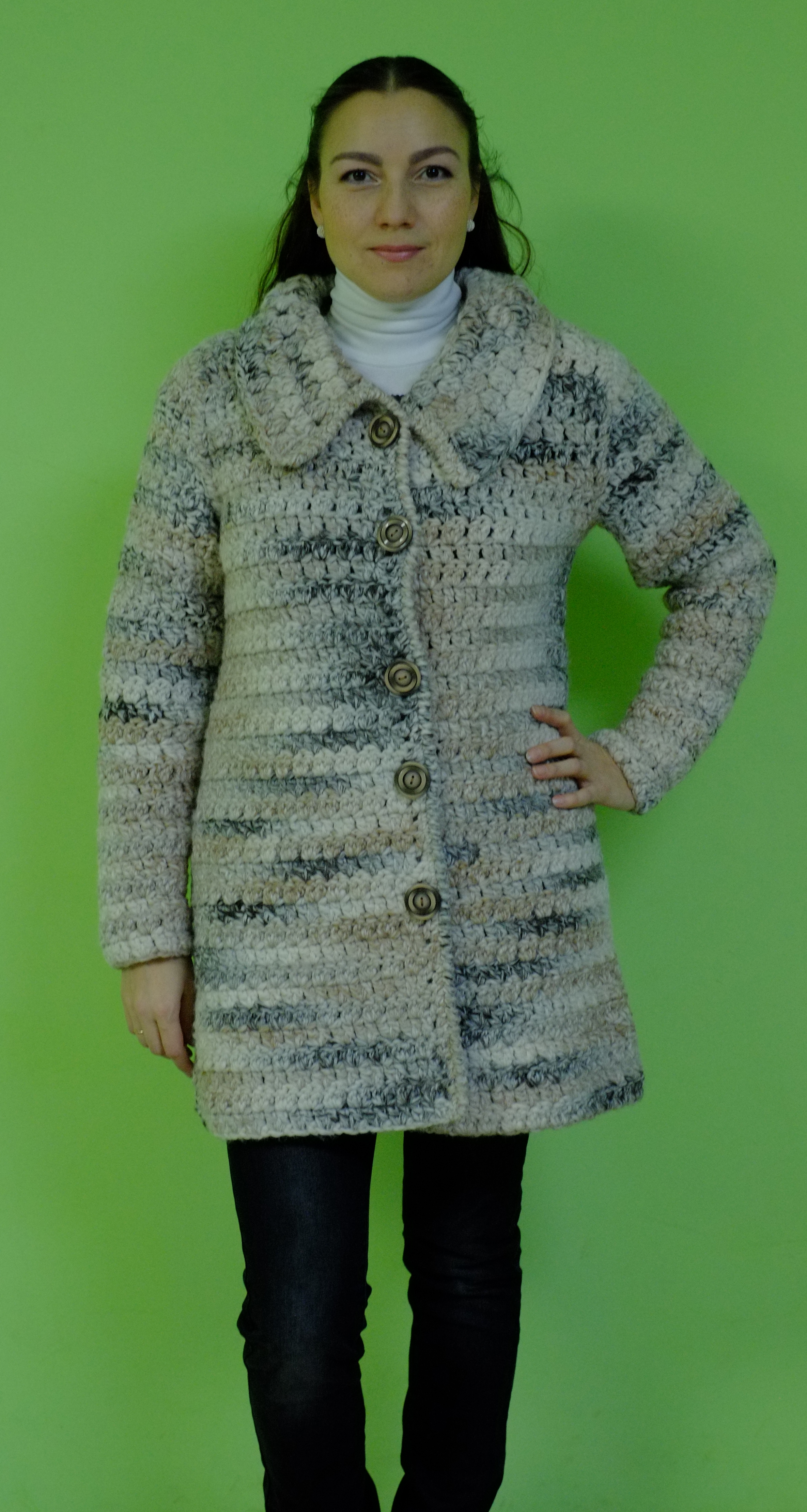 Пальто вязанное крючком осеннее фото