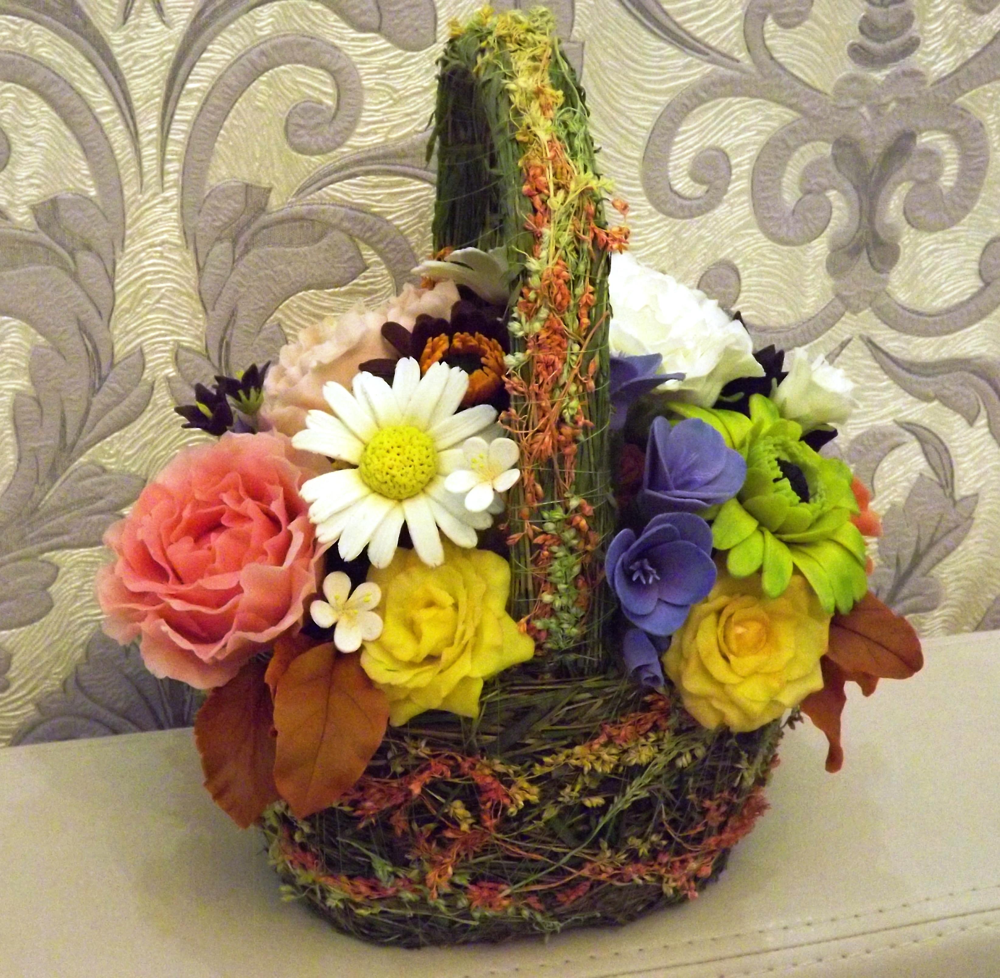 Корзина цветов своими руками фото 246