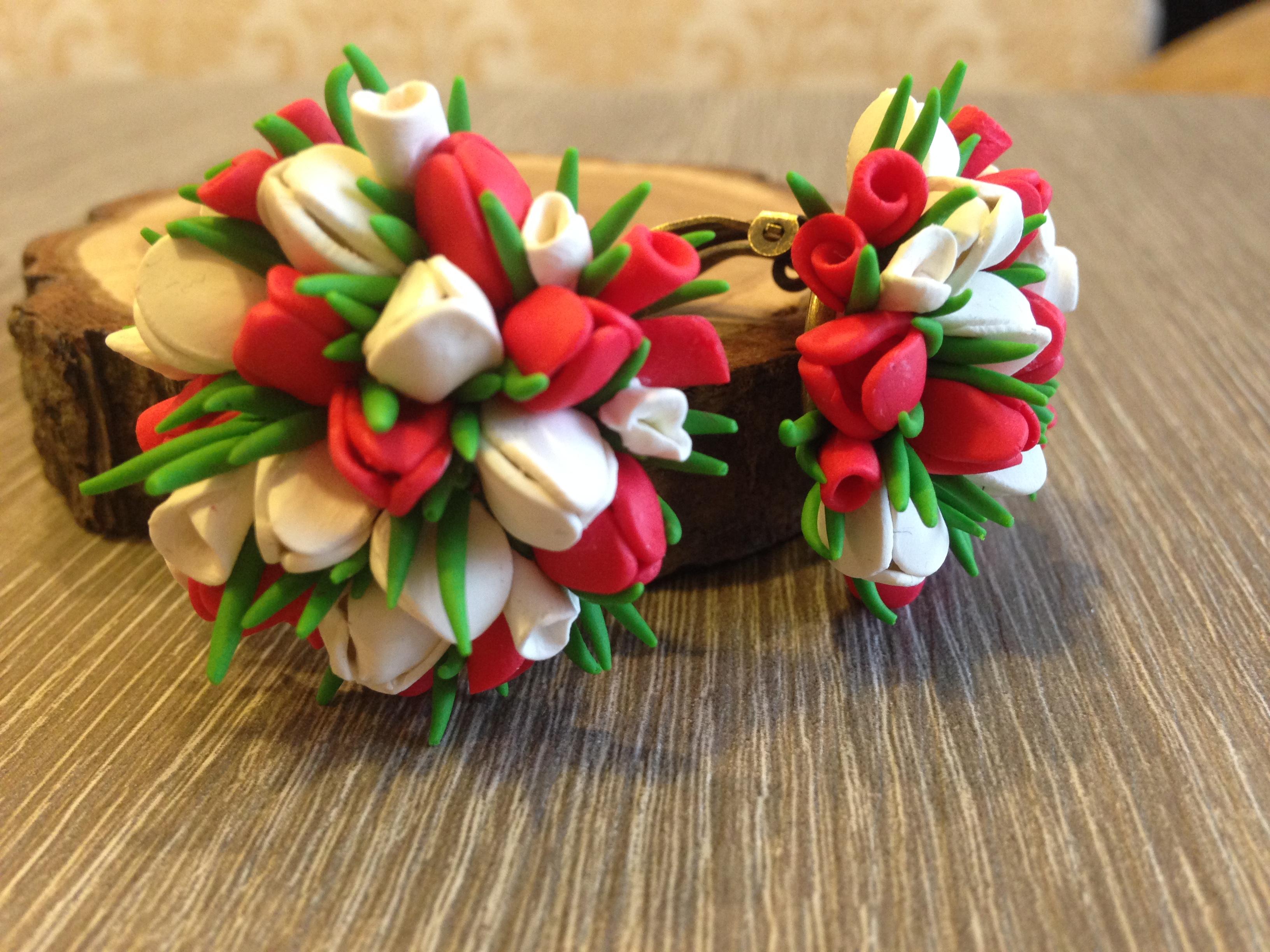 Тюльпаны из полимерной глины. Фото №1